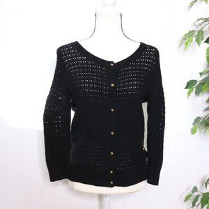 Frenchi Crochet Knit Button Up Cardigan Lg